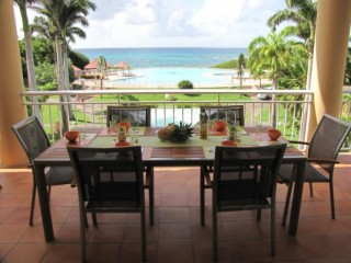 Location Appartement Guadeloupe - Terrasse vue piscine et mer