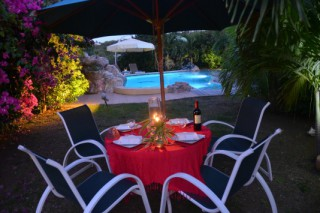 Location Appartement Saint-Martin - Diner au jardin au bord de la piscine